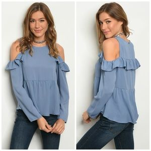 3 FOR $40 • Ruffle Sleeve Cold-Shoulder Top
